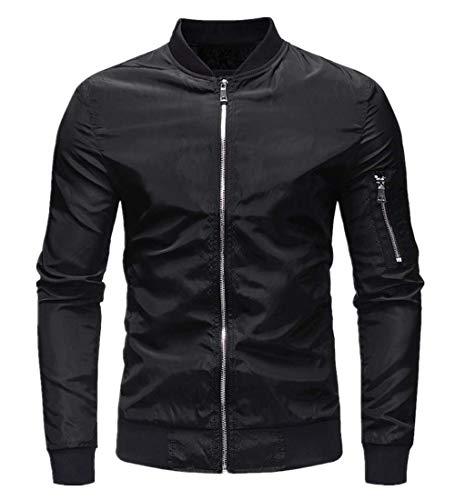 KPILP Herren Herbst Winter Casual Slim Top Bluse Outwear Solide Zipper Langarm Warm Mantel Jacke(Schwarz, M)