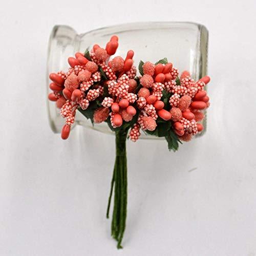 12 stks/partij handwerk kunstbloemen meeldraden suiker bruiloft decoratie diy krans geschenkdoos scrapbooking goedkope nep bloemen, oranje