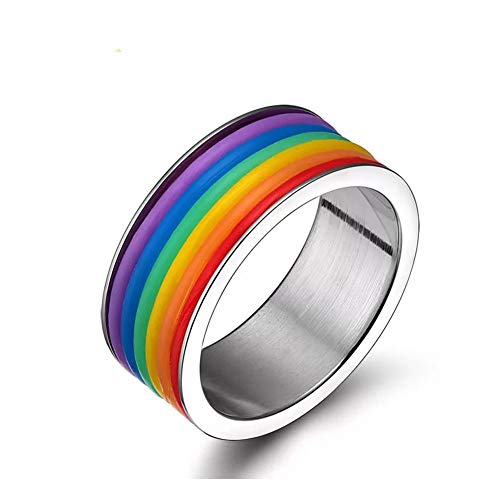 YOUYUZU Titanium Stainless Steel Gay Lesbian LGBT Pride Rainbow Rings Flag True Love Wedding Engagement Promise Band Ring Jewelry (Size 7)