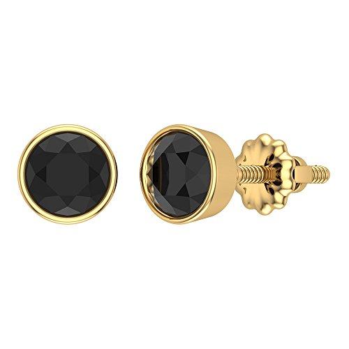 Pendientes de oro de 14 quilates con diamantes cortados a mano de 2 quilates más – 6 mm