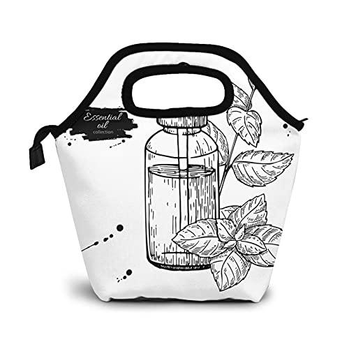 Bolsa Térmica Comida Bolsas De Almuerzo para Mujeres Hombres Niñas Niños Bolsa Isotérmica De Almuerzo Botella de aceite esencial de hoja de menta