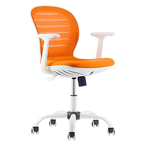Mid Back Mesh Adjustable Home Office Task Chair with Armrest (Orange)
