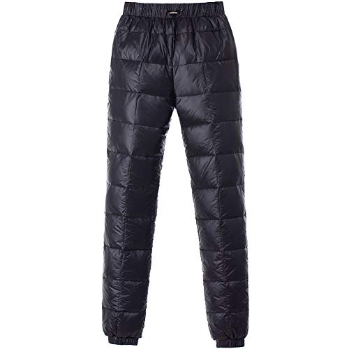 Tapasimme Men's Winter Warm Loose Utility Down Pants Sassy High Waisted Nylon Compression Snow Trousers (Large, Black)