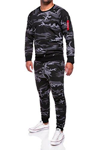 MT Styles Trainingsanzug Zip Jogginganzug Camouflage Sportanzug TA-02 [Schwarz, L]