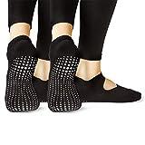 LA Active Calcetines Antideslizantes - 2 Pares - Para Yoga Pilates Ballet Barre Mujer Hombre - Ballet (2x Negro, 37-40 EU)