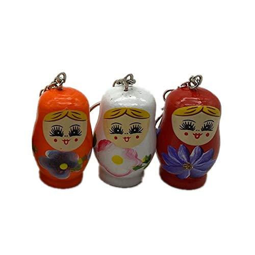 display0 3Pcs Holzblume Mädchen Gemalt Puppe Design Matroschka Schlüsselbund Schlüsselring Schlüsselhalter Tasche Dekor Anhänger Hängendes Ornament Geschenk Zufällige Farbe