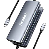 USB C Hub, Acodot 9-in-1 USB C Dongle, All-in-One USB C Hub Multiport Adapter with 3 x USB 3.0 ports, 4K HDMI, 100W Power Delivery, MicroSD/SD Card Reader for MacBook Air, MacBook Pro, XPS and More