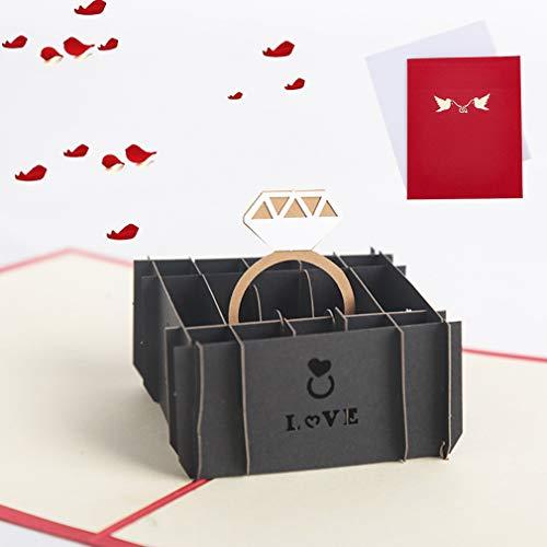 Bohend 3D Valentinstagskarten Auftauchen Ring Grußkarten Hochzeit Leere Einladung Umschläge Bekenntnis Jahrestag Geburtstagskarte zum Ehefrau und Familie