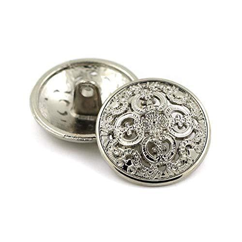 5 stks metalen knop voor kleding decoratieve gouden knoppen ronde hol gesneden knoppen naaien scrapbooking ambachten diy blazer truien, Sliver, 19mm