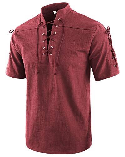 Moomphya Men's Medieval Retro Lace-Up Short Sleeve Renaissance Gothic V-Neck T-Shirts (Wine, Medium)
