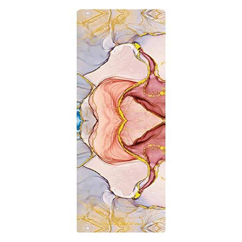 RWEAONT 5.5mm TPE TPE Yoga Mat Pad Pad Deporte Color Antideslizante Impresionado Impresionado Adelgazamiento Ejercicio Fitness Mat para Gym Travel 61cm (Color : Pink)