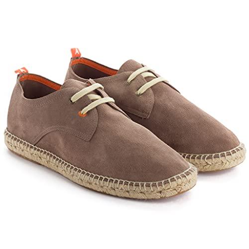 Alpargatas para Hombre de Yute y Piel. Hecha a Mano. Zapato Casual Tipo Blucher con Cordones Flexible Suave y Transpirable (Topo, Numeric_42)