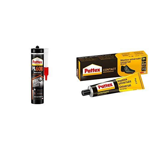 Pattex PL600, adhesivo resistente al agua y a temperaturas extremas, para interiores y exteriores, 1 cartucho x 300 ml + Pattex Cola de contacto universal instantánea multiusos, 125ml