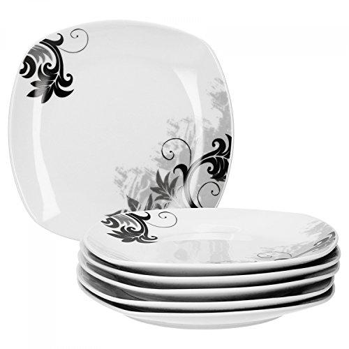 Van Well 6er Set Kuchenteller Black Flower   19 x 19 cm   Kleiner Essteller für Frühstück & Dessert   edler Porzellan-Teller   Gastro