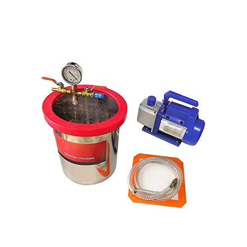 HNZXIB Cubo de Desgasificación al Vacío de 5 Galones Con Bomba de Vacío de 8CFM Ara Eliminar Las Burbujas de Silicona de Resina Epoxi de Madera