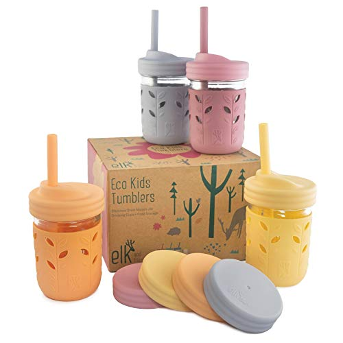 Elk and Friends Kids & Toddler Cups | The Original Glass Mason Jars 8 oz with Silicone Sleeves & Silicone Straws with Stoppers | Smoothie Cups | Spill Proof Sippy Cups for Toddlers