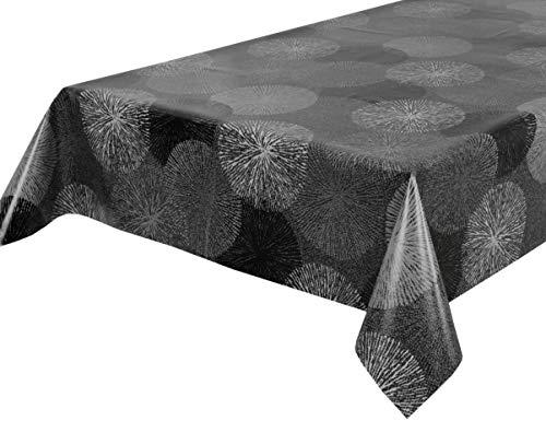 BEAUTEX Wachstuchtischdecke Wachstuch Tischdecke abwischbar ECKIG RUND OVAL, Motiv und Größe wählbar (Motiv: Feuerwerk grau, Eckig 140x100)