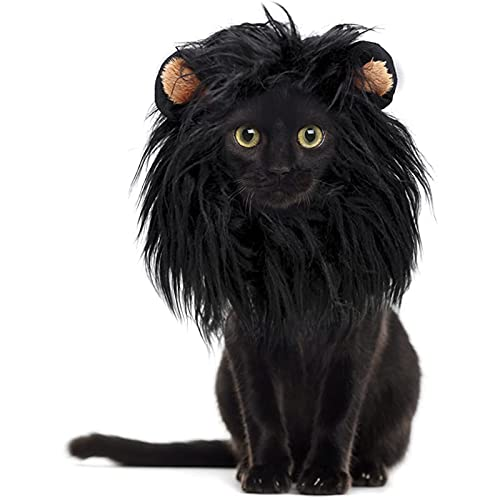 SH-RuiDu Peluca de melena de león para gatos, tocado transformador de mascotas con orejas para Halloween Navidad fotografía