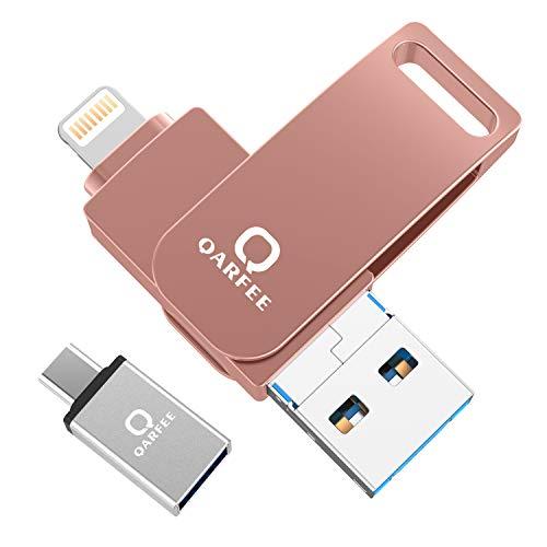 Qarfee USB Stick 128GB für iPhone USB Speicher Stick iPad Speichererweiterung Kompatibel mit iPhone XS,iPhone 8,iPad Mini,iPod,Mac PC Handy Computers und OTG Type C - Rosa