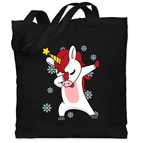 Shirtracer Weihnachten Kind - Christmas Einhorn Dab - Unisize - Schwarz - Statement - WM101 - Stoffbeutel aus Baumwolle Jutebeutel lange Henkel