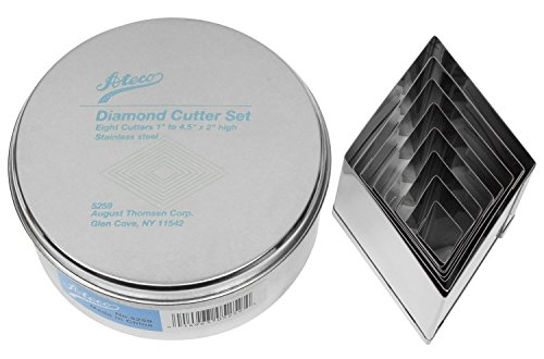 Ateco 8pc Stainless Steel Diamond Shaped Cutter Set