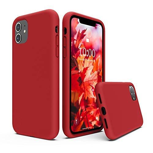 SURPHY Cover iPhone 11, Custodia iPhone 11 Silicone Liquido Cover Antiurto con Morbida Microfibra Fodera, Ultra Leggero Cover Case per iPhone 11 6.1 Pollici(2019),Rosso