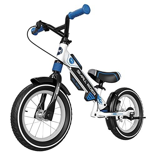 Small Rider Pro Air, Bicicleta de Equilibrio de 12 Pulgadas, Ligera, sin Pedales, sillín y Manillar Son Regulable en Altura, amortiguadores x2, Frenos x2, para niños y niñas a Partir de 3+