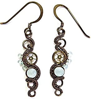 Aquamarine & Bronze Woven Steampunk Earrings - Steampunk Jewelry