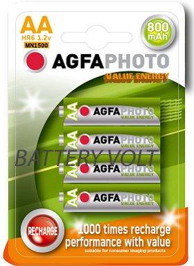 4 x Solar Garden Light AGFA AA 800mAh Rechargeable Batteries 1.2V NiMh