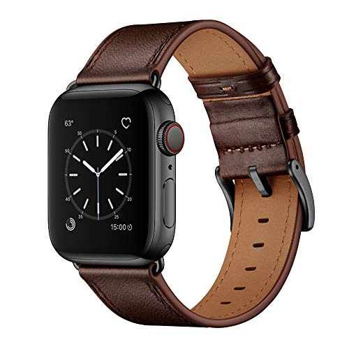 OUHENG Compatible with Apple Watch Band 42mm 44mm, Genuine Leather Band Replacement Strap Compatible with Apple Watch Series 5/4/3/2/1 44mm 42mm, Dark Brown Band with Black Adapter