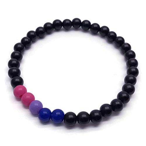 Bisexual Colors Bracelet - Pink Lavender Blue and Black Acrylic Beads - Pride - Awareness - 7 inches …