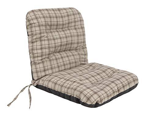 Sitzkissen für Niedriglehner Gartenmöbel - Kissen für Sessel, Gartenliege - Sitz abmessung - 48x48 cm Hoher 48 cm - Gartenkissen Polster Beige Kariert