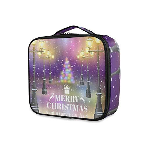 SUGARHE Fantasía Street View Feliz Navidad Vintage Luz Brillante Nieve Flotando Colorido...