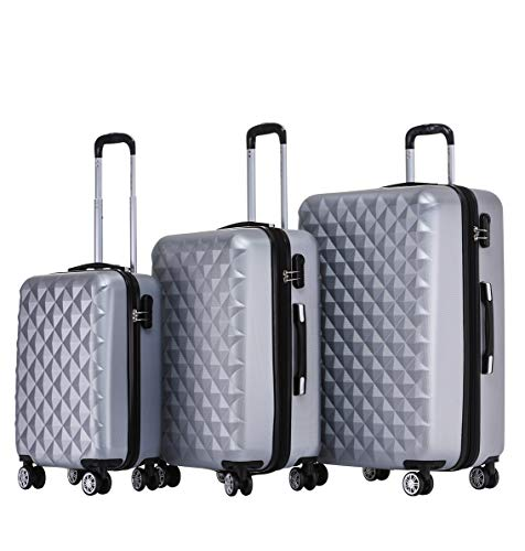 BEIBYE Kofferset 4 Zwillingsrollen Hartschale Trolley Koffer Reisekoffer Reisekofferset Gepäckset in 12 Farben (Silber)