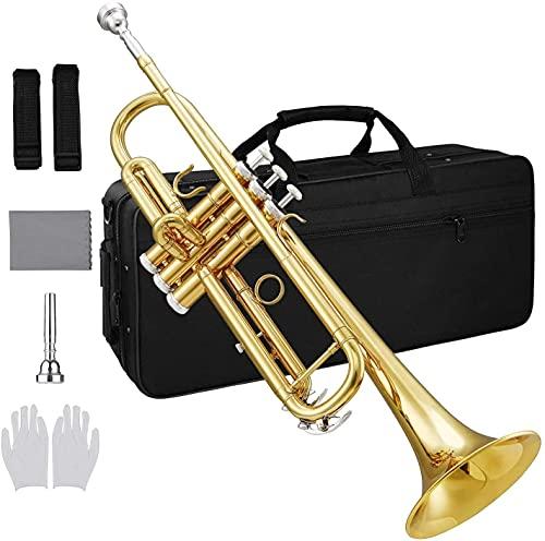 ammoon Trumpet, Standard Student Trumpet B flat Bb Key Brass Gold-painted...