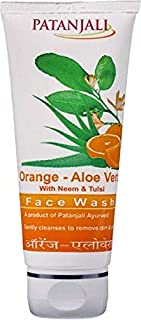 (Pack Of 3) Herbal Patanjali Orange- Aloe Vera With Neem And Tulsi 60g Face Wash A Product Of Patanjali Ayurved Gently Cleanses To Remove Dirt & Oil Best new