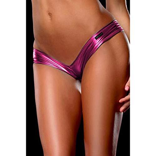 Hoverwin Mujer Braga Tanga Micro Sexy String Metalizado, Ropa Interior, Hot Sexy Pants Shorts Vintage Metal Brillante, Rosa, S