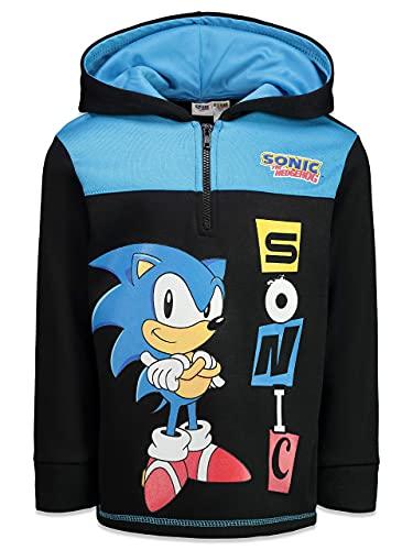 SEGA Sonic The Hedgehog Big Boys Fleece Hoodie Zip Up Pullover Sweatshirt Size 8 Black