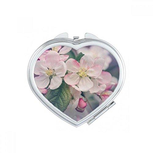 DIYthinker Rose Belle Fleurs Blanc Coeur Maquillage Compact Miroir de Poche Portable Mignon Petit Miroirs Main Cadeau