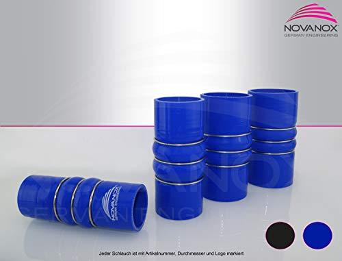 NovaNox German Engineering® Silikon-Wulst-Verbinder 2 Fach innen 60mm Drahtverstärkt Blau Ladeluftschlauch Universal Silikonschlauch Turboschlauch Schlauchverbinder - Wandstärke 5 mm/Ø 60mm