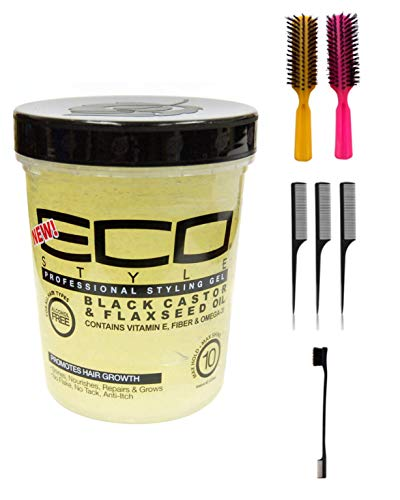 Price comparison product image Eco Style Gel Black Castor & Flaxseed Oil,  32 oz (Including Double Sided Edge Control Hair Brush,  3 Piece Rat Tail Hair Comb Set & 2 pc Colorful Handle Nylon Bristles Brushes)