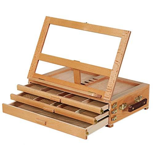 MEEDEN Large Adjustable Artist Tabletop Sketchbox Easel- Multi-Function Solid Beech Wood Storage Box Easel with 3-Drawer for Artist, Art Students & Beginners