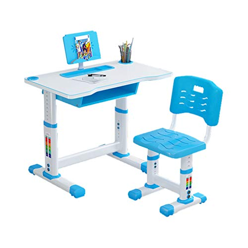 Kids Functional Desk and Chair Set, Height Adjustable Children School Study Desk with Embedded Grooves, Bookstand and Storage Drawer for Boys Girls (Blue-27.5x18.1x23.6-27.5 inches)
