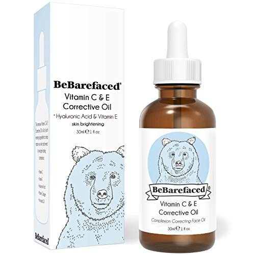 BeBarefaced | Vitamin C & E Face Oil | Anti Ageing Facial Oil Serum With Vitamins, Hyaluronic Acid & Marine Collagen | Plumps, Revives & Repairs | Skin Brightening Serum | Vegan Beauty Products | 30 ml