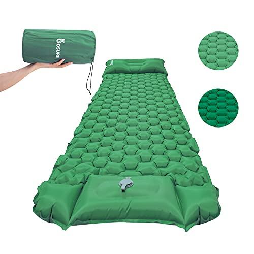 Colchoneta inflable ultraligera con almohada, colchoneta compacta de aire para acampar, colchoneta de dormir ligera para mochileros, camping, senderismo, viajes y actividades al aire libre (verde)