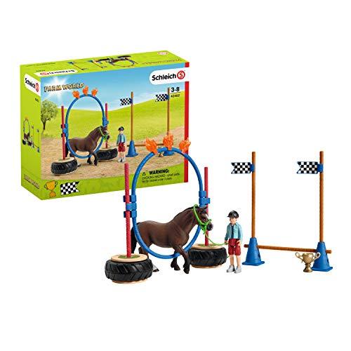 Schleich 42482 Farm World Spielset - Pony Agility Rennen, Spielzeug ab 3 Jahren