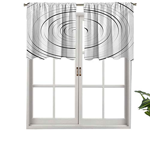 Hiiiman Extra Short Valance Thermal Insulated Window Curtains Rotary Spiral Ring Shaped Turning Simple Wheel Forms Modern, Set of 2, 42'x36' Home Decorative Panels for Bathroom