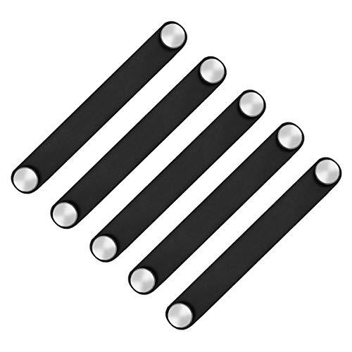 POFET Manillas de puerta de armario nórdico de piel sintética suave, para armarios, cajones, tiradores de muebles (26 x 140 mm), color negro