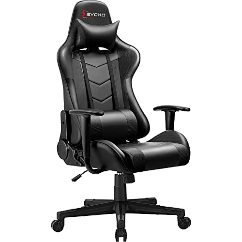 Devoko Ergonomic Gaming Chair Racing Style Adjustable Height High Back PC Computer Chair with Headrest and Lumbar Support Executive Office Chair (Black)