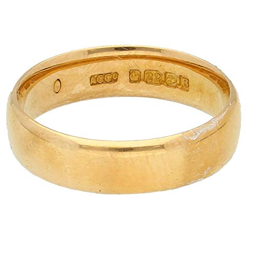 Womens Ring | 22Carat Yellow Gold Court Wedding Band (Size K 1/2) 4mm Wide Birmingham 1926 | One of a Kind Jewellery